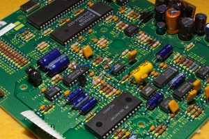 Photo of a modified phone circuit board.